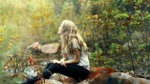 Woman encountering nature